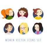 Women cute icons cartoon style vector set. Women icons cartoon style vector set (in circles Royalty Free Stock Photo