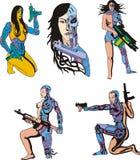 Women Cyborgs stock illustration