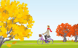 Women cycling in Autumn Stock Image