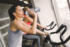 Women cycling in gym during fitness class. Sporty women cycling in gym during fitness class Stock Photography