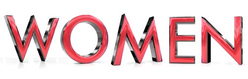 Women 3d word. The women word 3d rendered red and gray metallic color , isolated on white background Stock Photography
