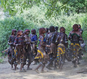 Women dance at bull jumping ceremony. Turmi, Omo Valley, Ethiopia. Women dance at bull jumping ceremony. Jumping of the bull is a rite of passage into manhood Stock Image