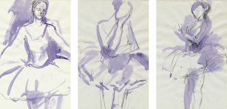 Women dancers 3, drawing. Hand drawing picture with ballerinas poses Royalty Free Stock Photos