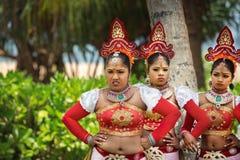 Women dancers entertaining visitors of Avani Bentota Resort stock photo