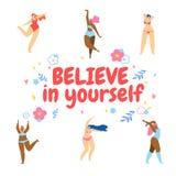 Women Dancing Around of Motto Believe in Yourself. Young Different Happy Women Dancing Around of Motto Believe in Yourself on White Background with Hand Drawn vector illustration