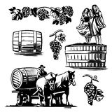 Women dancing in a barrel with grapes and charioteer. On the cart with a horse driven wine. Black and white vintage illustration for label, poster, web stock illustration