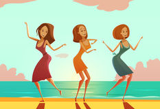 Women Dancing On Beach Cartoon Poster Stock Images