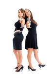 Women dancing with champagne glasses Royalty Free Stock Photo