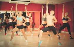 Women dancing in class stock photography