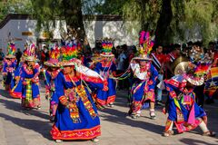 Women dancing at the festival of indigenous people in South America, north Chile