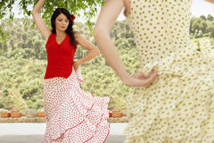 Women Dancing Flamenco Outdoors Stock Photography
