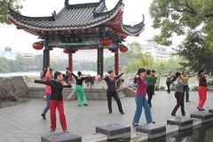 Women are dancing for inner balance,Guilin,China Stock Photo