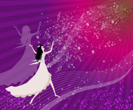 Women dancing with musical notes. Praise the Lord with dance and music notes Royalty Free Stock Photo