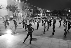 Women dancing in the night. Women like to dance in the night in amoy city, china Stock Photos