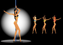 Women dancing a striptease Stock Photo