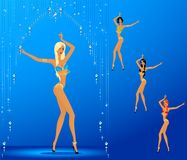 Women dancing a striptease Royalty Free Stock Photos