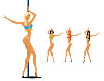 Women dancing a striptease Stock Images