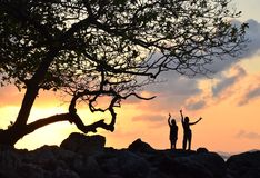 Women Dancing Tree Sunset. 2 women dancing on the rock beside the tree royalty free stock image
