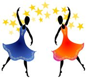 Women Dancing Under Stars. A clip art illustration of 2 women dancing with colorful long flowing dresses beneath a  starry sky Stock Photography