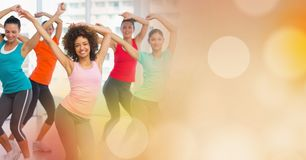Women dancing and yellow bokeh transition stock images