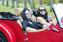 Women with dark glasses on vacation trip Royalty Free Stock Photography