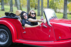 Women with dark glasses on vacation trip Royalty Free Stock Images