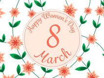 Women day background with frame flowers. Royalty Free Stock Photo