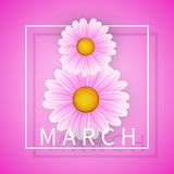 Women day background with frame flowers. 8 March invitation card. Vector illustration.  royalty free illustration