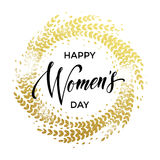 Women Day card text on circle background. Women Day gold decoration wreath of glitter for greeting card. 8 March Woman holiday text lettering on luxury white stock illustration
