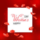 Women day card. White banner and greetings Happy women day on a red abstract background with flying red rose petals. Beautiful decorative floral calligraphic Royalty Free Stock Images