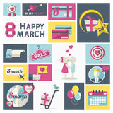 Women Day clip art set. Vector in   modern flat style icon clip art set with credit card, pointing finger, couple, discount, hearts, congratulations to the man Stock Image