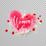 Women Day 3d heart flower trasnparent background. Women Day 3d heart of flower petal blossom on transparent background. Text lettering for 8 March Woman holiday vector illustration