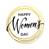 Women Day gold glitter greeting card text on circle background. Women Day gold glitter greeting card and text lettering. Golden circle rings on luxury white Stock Images