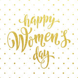 Women Day gold glitter greeting card text on pattern background. Women Day gold glitter greeting card and text lettering. Golden pattern on luxury white Stock Photo