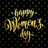 Women Day gold glitter greeting card text on pattern background. Women Day gold glitter pattern on luxury background for greeting card. 8 March Woman holiday Royalty Free Stock Photo