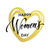 Women Day gold glitter heart for greeting card. Women Day gold glitter heart and text for greeting card. Luxury white background for 8 March Woman holiday Royalty Free Stock Photo