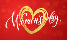 Women Day gold glitter heart 8 March greeting card. Women Day gold heart and glitter on premium luxury red background. 8 March Woman holiday text lettering for Royalty Free Stock Images
