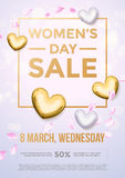 Women Day gold glitter sale poster text on heart background. Women Day sale gold glitter poster and text lettering. Golden pattern on luxury white background for vector illustration