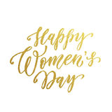 Women Day gold glitter text lettering vector. Women Day gold glitter text lettering. Golden vector calligraphy for 8 March Woman holiday greeting card Royalty Free Stock Photography
