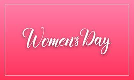 Women Day March 8. Banner with calligraphy for International Women`s Day.  Stock Image