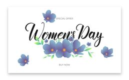 Women Day March 8. Banner with spring flowers and calligraphy for International Women`s Day.  Stock Photography