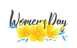 Women Day March 8. Banner with spring flowers and calligraphy for International Women`s Day.  Royalty Free Stock Photography