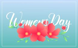 Women Day March 8. Banner with spring flowers and calligraphy for International Women`s Day.  Royalty Free Stock Image