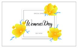 Women Day March 8. Banner with spring flowers and calligraphy for International Women`s Day.  Royalty Free Stock Photo