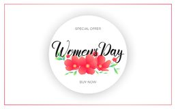 Women Day March 8. Banner with spring flowers and calligraphy for International Women`s Day.  Royalty Free Stock Photos