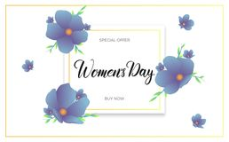 Women Day March 8. Banner with spring flowers and calligraphy for International Women`s Day.  Stock Images