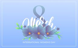 Women Day March 8. Banner with trendy flowers and script lettering for International Women`s Day.  Stock Photos