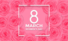 Women Day 8 March greeting card of flowers pattern background Stock Images
