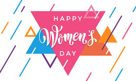 Women Day 8 March greeting card of modern triangle pattern background Royalty Free Stock Image