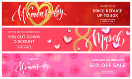 Women Day sale gold glitter heart web banner 8 March. Women Day sale gold glitter online shopping web banner vector templates. Golden hearts and flowers discount vector illustration